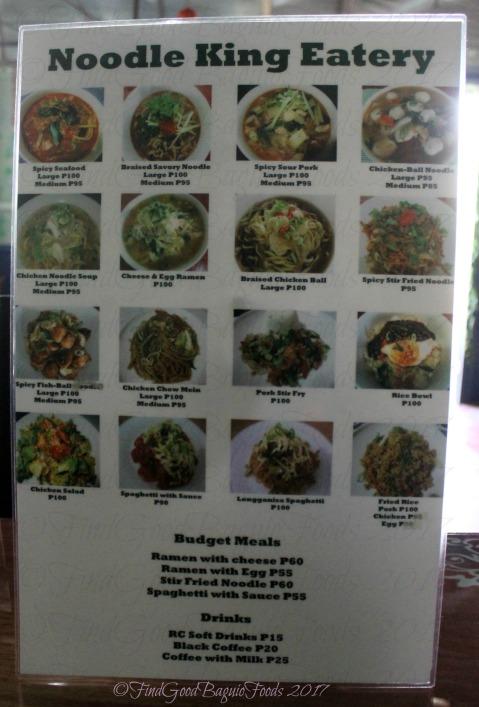 Baguio Noodle King Eatery 2017 menu