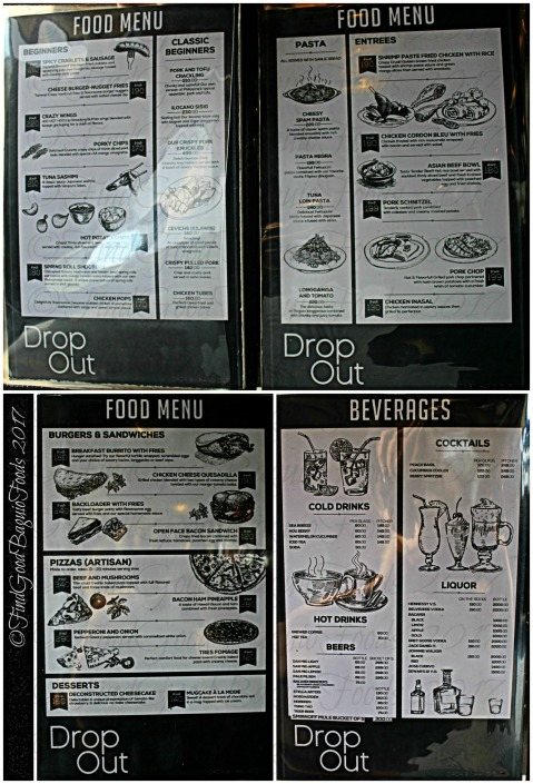 Baguio Drop Out menu