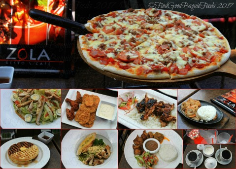 Baguio Zola Resto Cafe 2017 Meat to meat pizza, chef's salad, chicken drummets, cheese pork rolls, chocolate and vanilla waffles, pesto pasta, lechon kawali, watermelon cucumber drink, and coffee