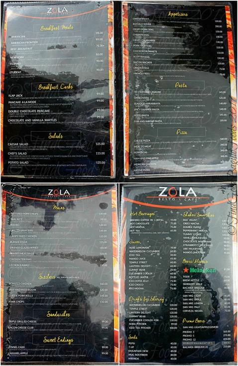 Baguio Zola Resto Cafe menu 2017