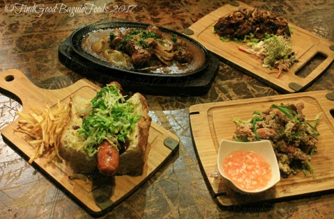 Baguio Just Another Damn Good Sick Joint 2017 Meatballs with onion gravy, crispy smoked pork with BBQ sauce, sick joint sausage, chicken skin