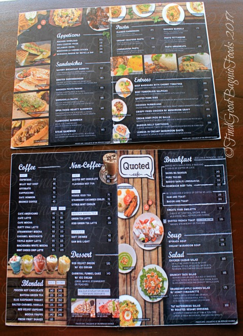 Baguio Quoted Cafe menu at V Hotel Apartel 2017