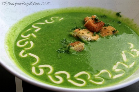 Quoted Cafe spinach soup at V Hotel Apartel 2017