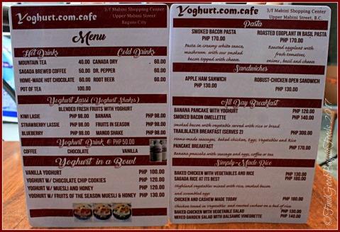 Baguio Yoghurt.com Cafe menu 2017