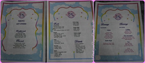Baguio Unicorn Dream Cafe menu 2017