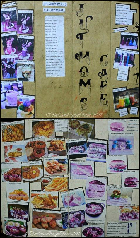 Baguio Juthoms Cafe menu 2017
