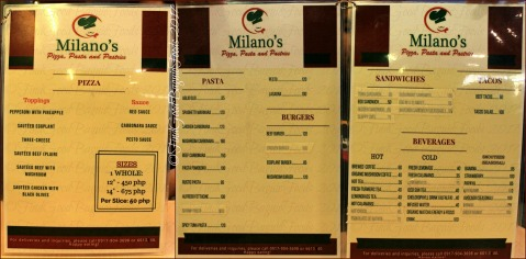 Baguio Milano's Pizza, Pasta and Pastries menu 2017