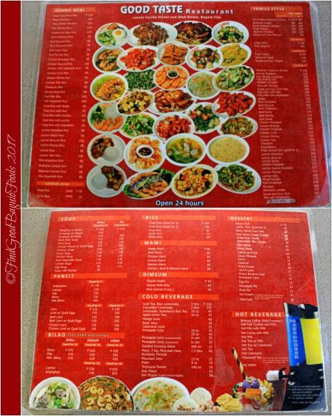 Baguio Good Taste Restaurant menu 2017