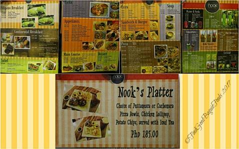 Baguio The Nook at Le Fern Hotel II menu 2017
