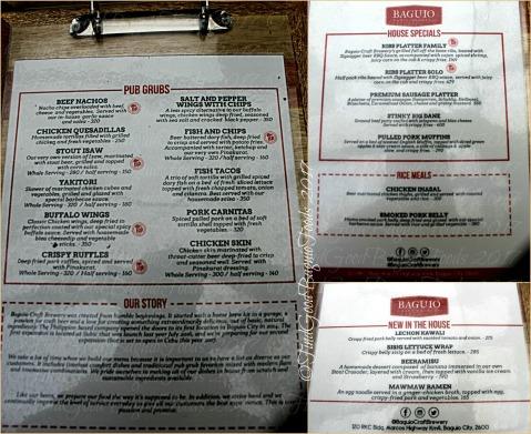 Baguio Craft Brewery menu 2017