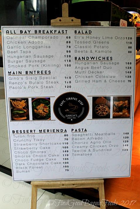 Baguio Garcia's Kape, Tinapay, Atbp. menu 2017