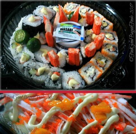 Baguio Kanzen Sushi Roll 32 pieces platter, kani salad