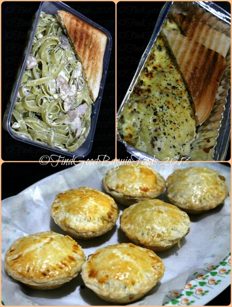 Baguoi Mum n' Hub Kitchen chicken and mushroom spinach fettuccine pasta, beef moussaka, mini apple pies