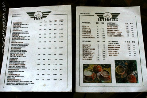 Baguio Beans Cafe menu 2017