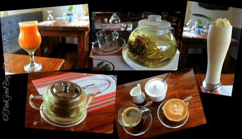 Baguio Vincent's Place Restaurant Cafe Bar tropical treat fruit juice, blooming edible flower tea, pineapple lassi, organic mountain tea, cafe Americano and cappuccino 2017
