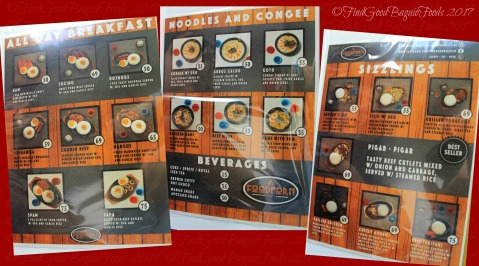 Baguio FoodPorn Sizzles menu 2017