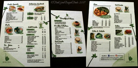 Baguio Green Bites Cafe menu 2017