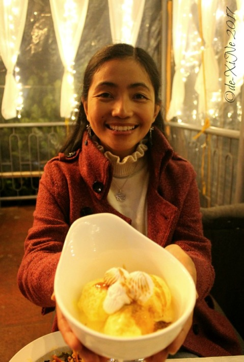 happy with my mango orange ice cream at La Trinidad metro Baguio Sinner or Saint Cafe 2017
