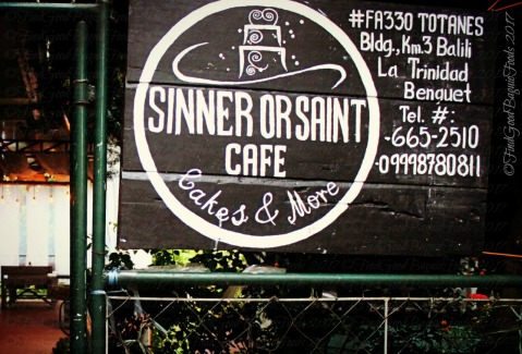 sign and entrance to La Trinidad metro Baguio Sinner or Saint Cafe 2017