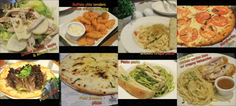 Baguio The Old Spaghetti House grilled chicken apple almond salad, pizza salad, buffalo chicken tenders with blue cheese dressing, four cheese pizza, Margherita pizza, smoked tinapa pasta, pesto pasta, Chef Soc's chicken cordon bleu with creamy fettuccine 2017