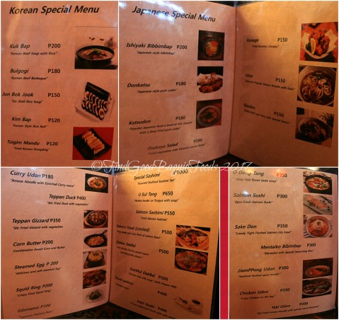 Baguio Osakaya Korean & Japanese Restaurant menu 2017
