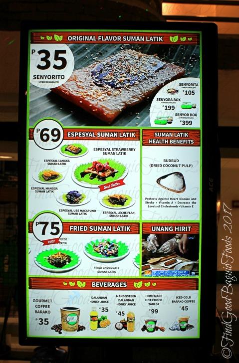 Baguio Senyor Juan Suman Latik menu 2017