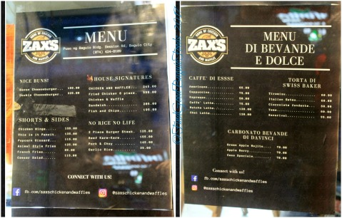 Baguio Zax's House of Chicken and Waffles menu 2017