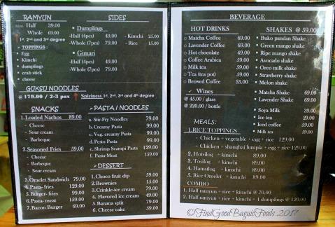 La Trinidad metro Baguio A Far Noodle House menu 2017