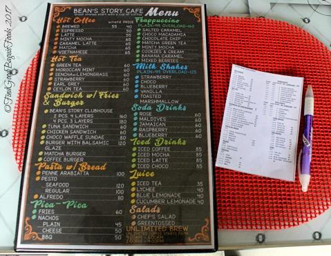 La Trinidad metro Baguio Bean's Story Cafe menu 2017