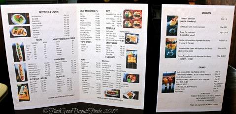 La Trinidad metro Baguio Ayatori Japanese Cuisine menu 2017