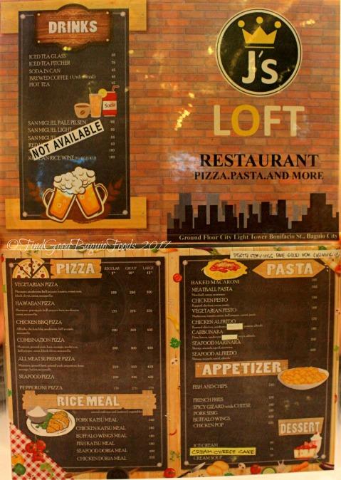 Baguio J's Loft Restaurant menu 2017