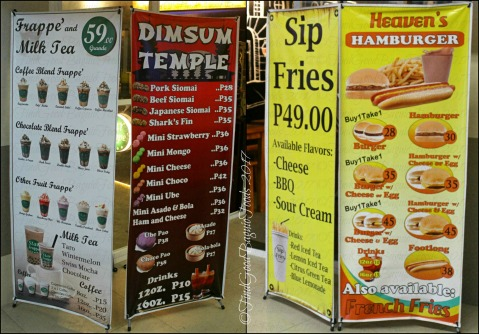 Baguio Frappe and Milk Tea, Dimsum Temple, Sip Fries, Heaven's Hamburger menus 2017