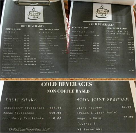 Baguio Perryn's Patisserie & Cafe menu 2017