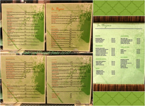 Baguio In Thyme Restaurant at C Boutique Hotel menu 2017