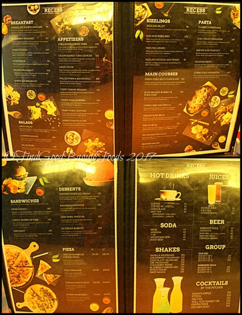 Baguio Recess Resto Cafe menu 2017