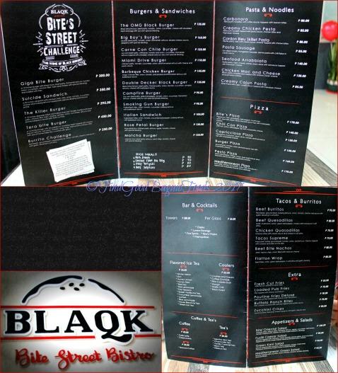 Baguio Blaqk Bite Street Bistro menu 2017