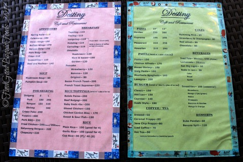 Baguio Destiny Cafe and Restaurant menu 2017