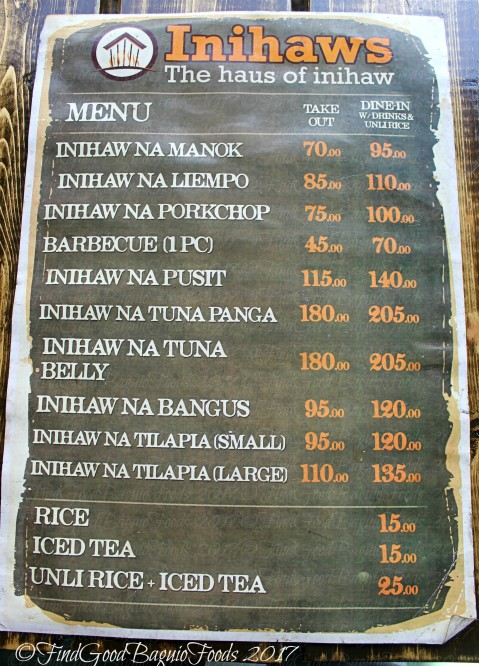 Baguio Inihaws The Haus of Inihaw menu 2017