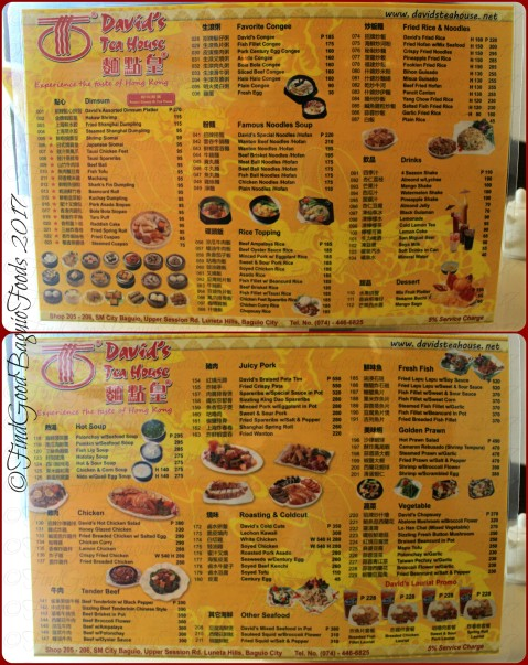 Baguio David's Tea House menu 2017