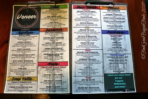 Baguio Veneer Resto Cafe menu 2017