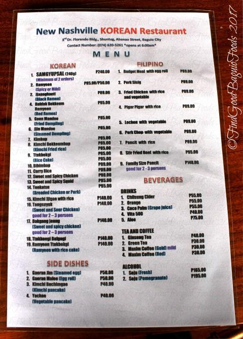 Baguio New Nashville Korean Restaurant menu 2017