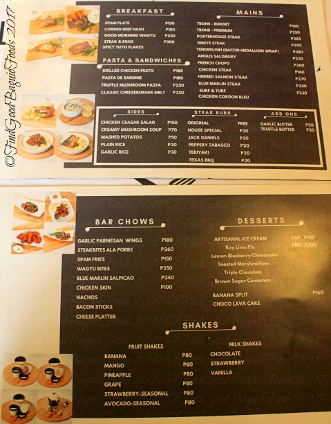 Baguio Rustic Box Steak and Wine House menu 2017