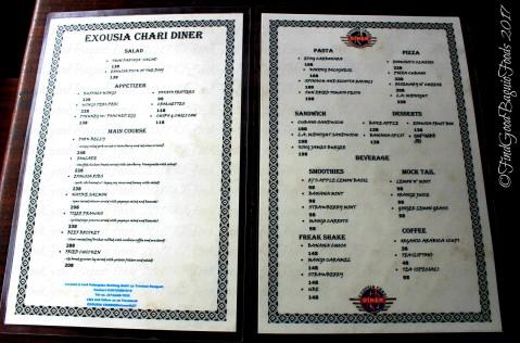 La Trinidad metro Baguio Exousia Chari Diner menu 2017
