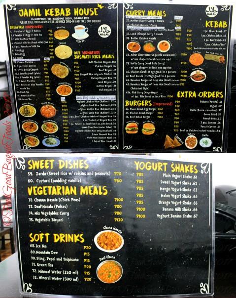 Baguio Jamil Kebab House Halal menu 2017