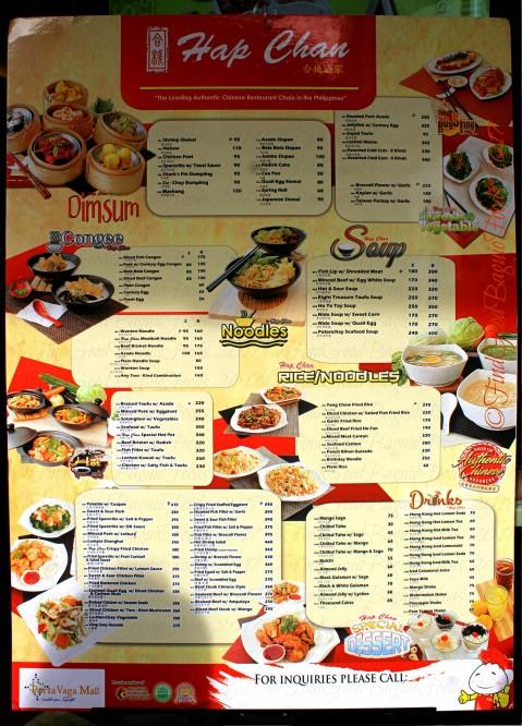 Baguio Hap Chan Chinese Restaurant menu 2017