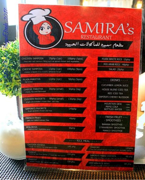 Baguio Samira's Restaurant menu 2017