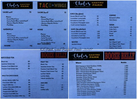 Baguio Cholo's Gastro Park - Taco x Wings Booze Belly menu 2017