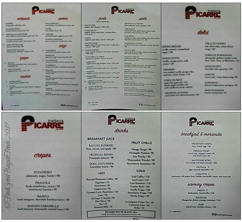 Baguio Trattoria Picarre menu 2017