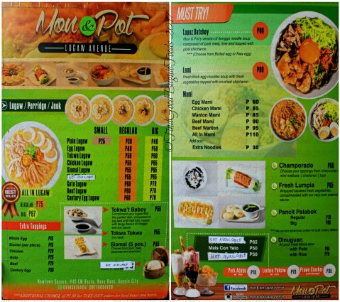 Baguio Mon & Pot Lugaw Avenue menu 2017