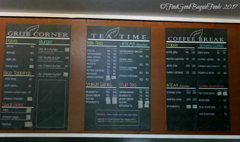 Baguio Vier Cafe menu 2017